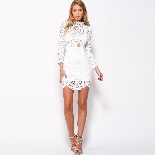 Sexy Women Mini Dress Crochet Lace Stand Collar 3/4 Sleeves Back Zipper Scalloped Hem Bodycon Party Clubwear White