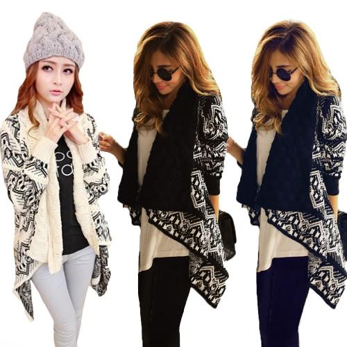 Fashion Women Sweater Cardigan Big Casual Knitted Shawl Neck Long Sleeve Weave Knitwear Black/Beige/Dark Blue G1442BE