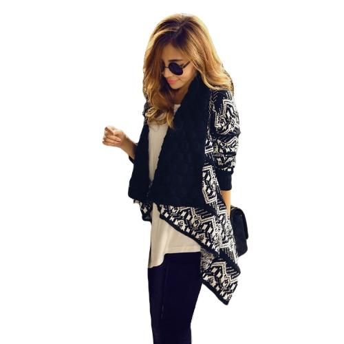 Fashion Women Sweater Cardigan Big Casual Knitted Shawl Neck Long Sleeve Weave Knitwear Black/Beige/Dark Blue G1442DB