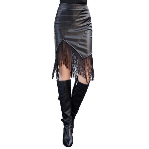 New Fashion Women PU Leather Skirt Empire Elastic Waist Tassel Bodycon Sexy Pencil Skirt BlackDresses<br>New Fashion Women PU Leather Skirt Empire Elastic Waist Tassel Bodycon Sexy Pencil Skirt Black<br><br>Blade Length: 25.0cm