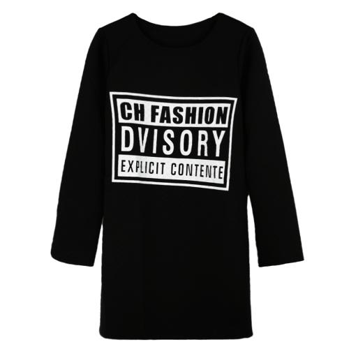 New Women Girl Sweatshirt Letter Print O-Neck Long Sleeve Pullover Casual Mini Dress Tops Sweater Black/White