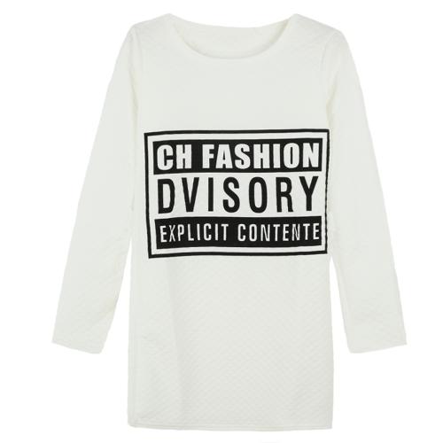 New Women Girl Sweatshirt Letter Print O-Neck Long Sleeve Pullover Casual Mini Dress Tops Sweater Black/White G1476W-S