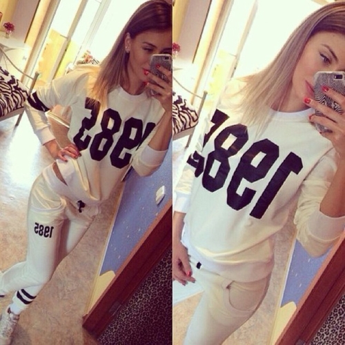 New Fashion Women Tracksuit Set Sweatshirt Joggers Stripe Letter Pirnt Pockets Elastic Waistband Casual Sportswear Set