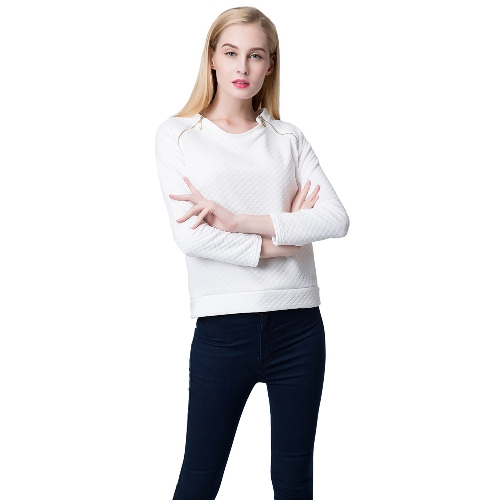 Fashion Women Sweatshirt Double Zippers Long Sleeve Pullover Top White