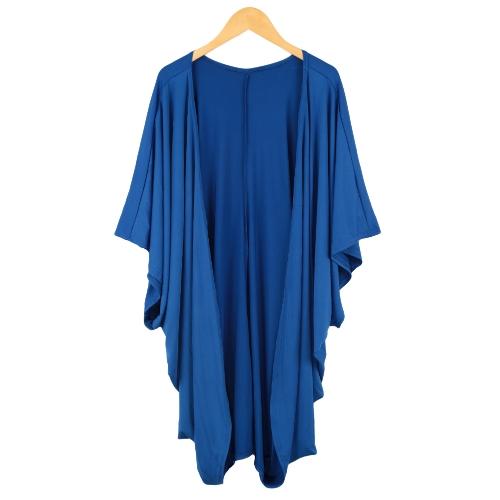New Women Outerwear Open Front Batwing 3/4 Sleeves Street Style Loose Long Cardigan Coat Blue/BlackBlazers &amp; Coats<br>New Women Outerwear Open Front Batwing 3/4 Sleeves Street Style Loose Long Cardigan Coat Blue/Black<br><br>Blade Length: 35.0cm