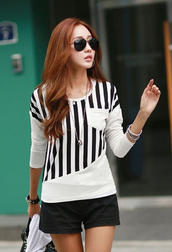 New Fashion Women T-Shirt Striped Patchwork Chest