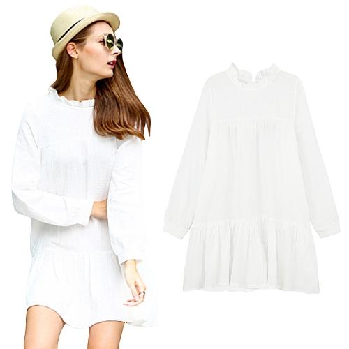 New Fashion Women Mini Dress Ruffled Collar Wide Hem Long Sleeves Loose Casual Short Dress White