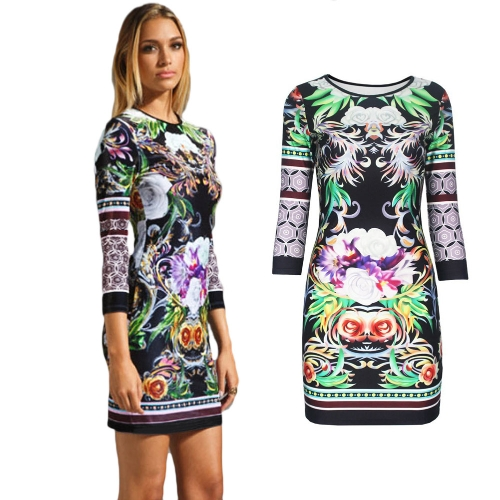 Buy Sexy Women Bodycon Dress Floral Print Round Neck 3/4 Sleeve Bandage Evening Party Night Club Prom Green