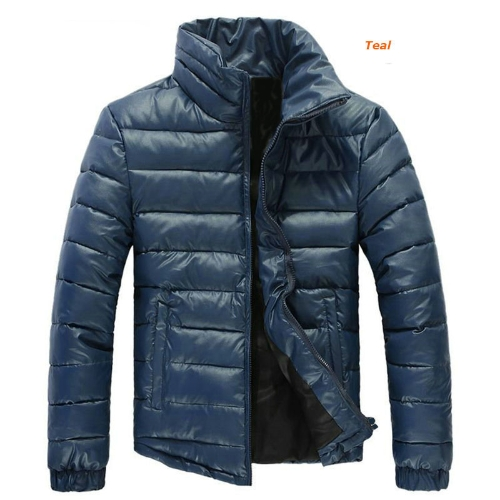 Buy Mens Winter Coats Warm Parkas Stand-up Collar Jackets Teal