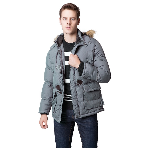 Fashion Winter Men Parka Faux Fur Collar Hooded Thick Warm Jacket Coat Outerwear Grey