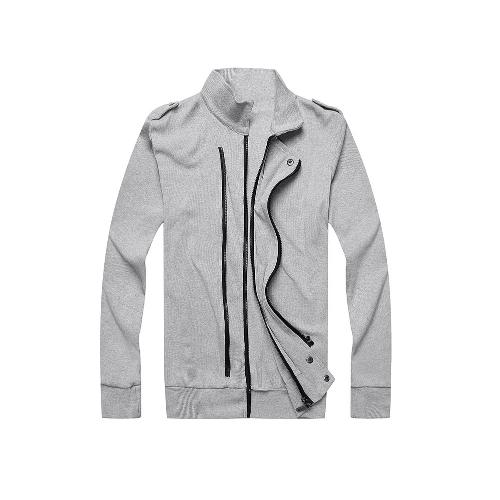New Fashion Men Jacket Two Zippers Epaulettes Long Sleeves Slim Thin Coat Outerwear Light Grey