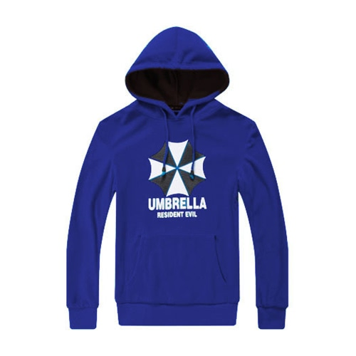 Fashion Men Hoodies Umbrella Letter Print Long Sleeves Pocket Hooded Pullover Sweatshirt Royal Blue