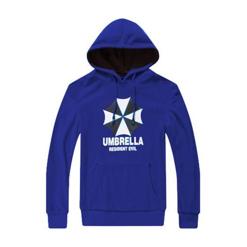 Fashion Men Hoodies Umbrella Letter Print Long Sleeves Pocket Hooded Pullover Sweatshirt Royal Blue G4029RBL-S