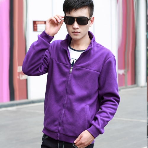 Fashion Men Thin Coat Stand Collar Long Sleeves Zipper Solid Color Casual Jacket Outerwear Purple G4030PU-XL