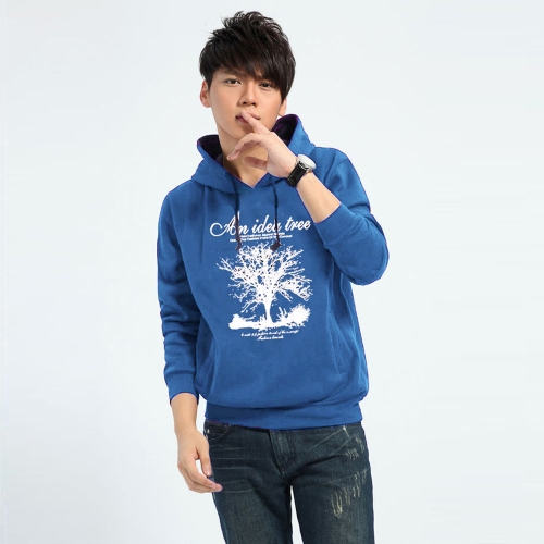 New Fashion Men Hoodies Tree Letter Print Long Sleeve Sport Casual Pullover Tops Blue G4031BL-XL