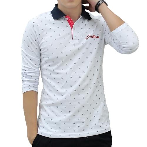 Fashion Casual Men T-Shirt Anchor Print Long Sleeves Turn Down Collar Slim TopsT-shirts &amp; Polo<br>Fashion Casual Men T-Shirt Anchor Print Long Sleeves Turn Down Collar Slim Tops<br><br>Blade Length: 36.0cm