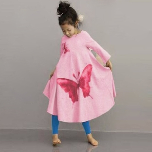 Cute Fashion Baby Girls Princess Dress Butterfly Print Round Neck Long Sleeve Kids Flared Dress Grey/Pink G5030P120