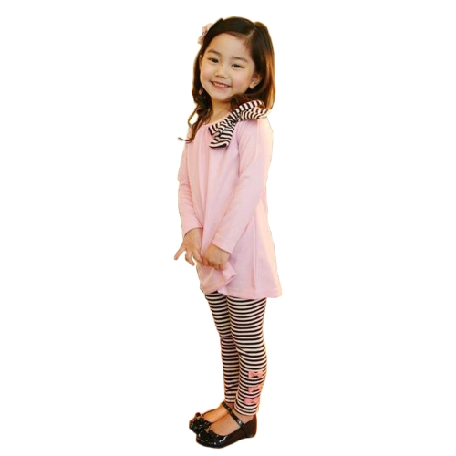 New Fashion Kids Girls Clothing Set Bowknot Pullover Tops Striped Pants Pink/Dark BlueNew Fashion Kids Girls Clothing Set Bowknot Pullover Tops Striped Pants Pink/Dark Blue<br><br>Blade Length: 20.0cm