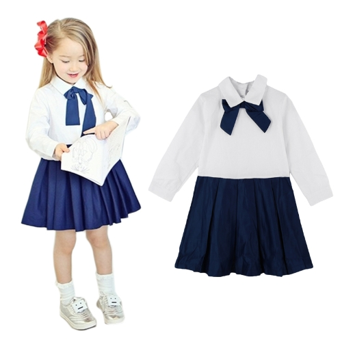 Fashion Children Girl Dress Bowknot Button Fastening Turn-Down Collar Long Sleeve Dress WhiteFashion Children Girl Dress Bowknot Button Fastening Turn-Down Collar Long Sleeve Dress White<br><br>Blade Length: 20.0cm