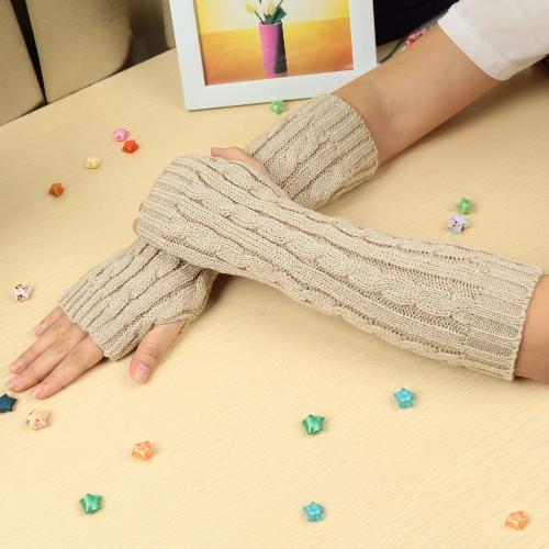 Fashion Winter Gloves Mitten Warm Knitted Fingerless Arm Long Unisex