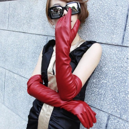 Fashion Elegant Women Gloves Soft PU Leather Arm Long Gloves Evening Party Gloves Red