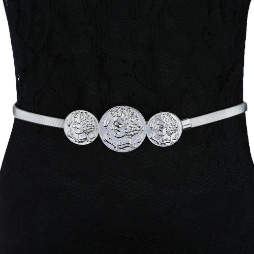 New Fashion Women Metal Stretch Belt Human Head Dolphin Vintage Slinky Skinny Belt Gold/Silver