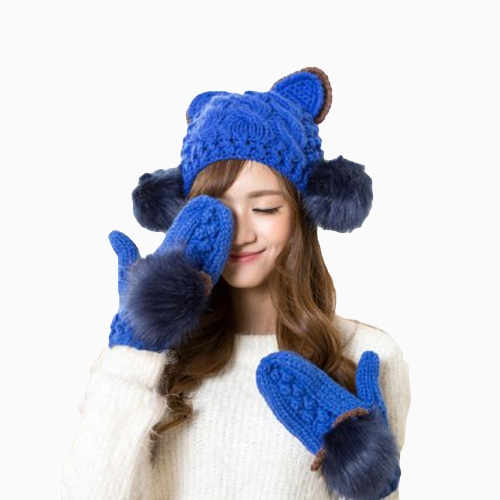 New Fashion Winter Women Knitted Mittens Contrast Color Faux Fur Cat Ears Warm GlovesAccessories<br>New Fashion Winter Women Knitted Mittens Contrast Color Faux Fur Cat Ears Warm Gloves<br><br>Blade Length: 15.0cm