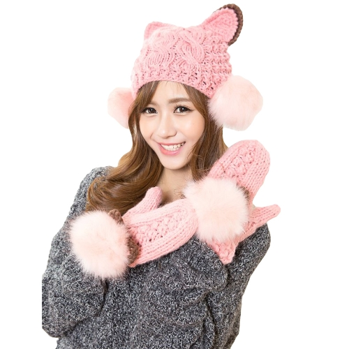 New Fashion Winter Women Knitted Mittens Contrast Color Faux Fur Cat Ears Warm Gloves GA0107P