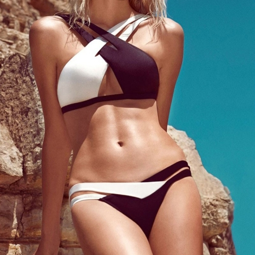 Sexy Women Bikini Set Contrast Cross Strap Push Up Padded Swimwears Swimsuits Beachwear Black&White
