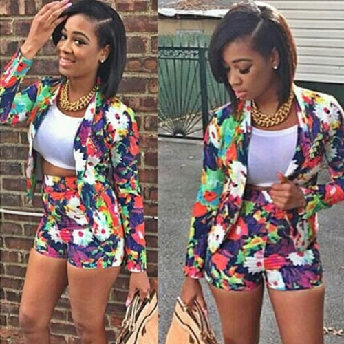 Trendy Floral Print Long Sleeve Blazer Hot Shorts Two-Piece Set for WomenBlazers &amp; Coats<br>Trendy Floral Print Long Sleeve Blazer Hot Shorts Two-Piece Set for Women<br><br>Blade Length: 25.0cm