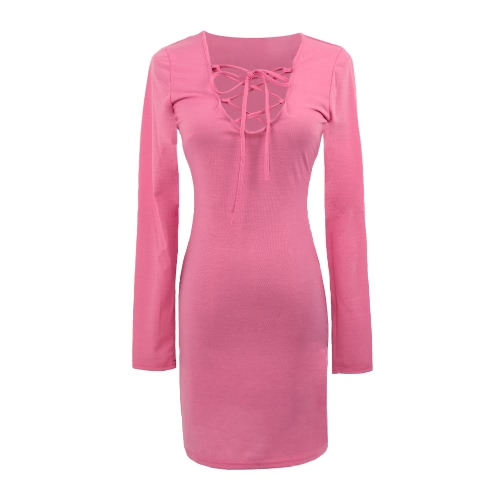 Sexy Adjustable Strap Lace up V-Neck Long Sleeve Bodycon Mini DressDresses<br>Sexy Adjustable Strap Lace up V-Neck Long Sleeve Bodycon Mini Dress<br><br>Blade Length: 29.0cm