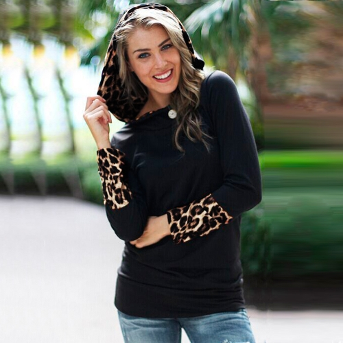 Fashion Leopard Button Hooded Neck Long Sleeve Hoodie Top for WomenTops &amp; Vests<br>Fashion Leopard Button Hooded Neck Long Sleeve Hoodie Top for Women<br><br>Blade Length: 25.0cm