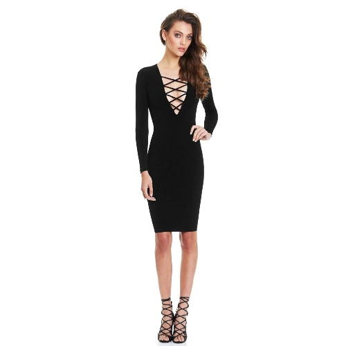 New Fashion Women Dress Plunge V Neckline Criss Cross Straps Front Long Sleeve Bodycon Fit Sexy Midi One-Piece G1596B-XL