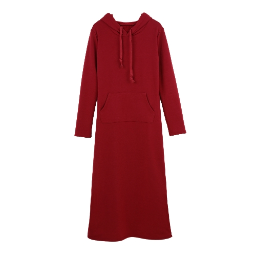 Causal Maxi Sweater Dress Hooded Front Pouch Pocket Long Sleeve Fleece LiningDresses<br>Causal Maxi Sweater Dress Hooded Front Pouch Pocket Long Sleeve Fleece Lining<br><br>Blade Length: 40.0cm