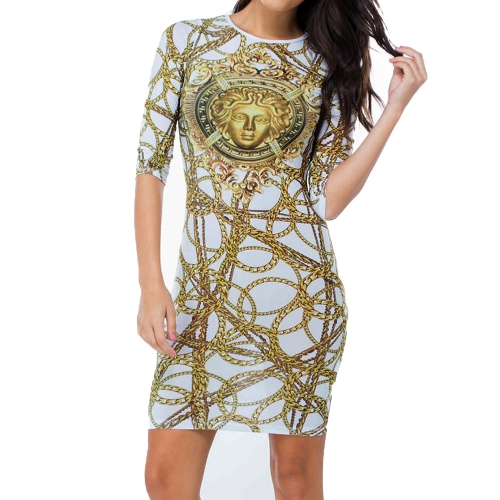 Sexy Beauty and Chain Print Long Sleeve Round Neck Bodycon Mini Club Party DressDresses<br>Sexy Beauty and Chain Print Long Sleeve Round Neck Bodycon Mini Club Party Dress<br><br>Blade Length: 30.0cm