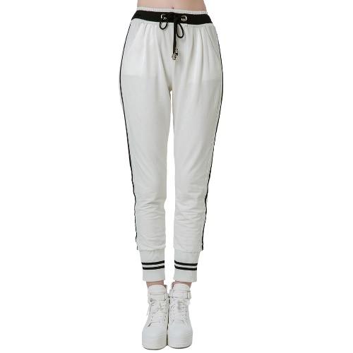 Casual Woman Stripes Elastic Waistband Drawstring Yoga Sport Harem Pants