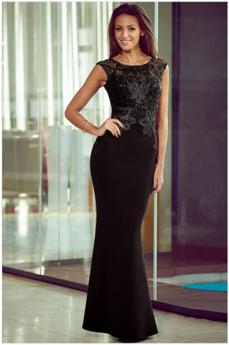 Sexy Women Lace Hollow Out Backless Bodycon Cocktail Evening Maxi Mermaid Black Dress G1658B-L