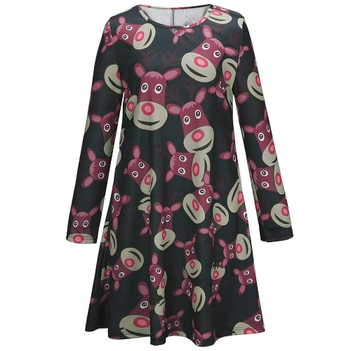 New Fashion Women Mini Dress Reindeer Print Color Block Round Neck Long Sleeve Cute One-piece Green/Red/Black