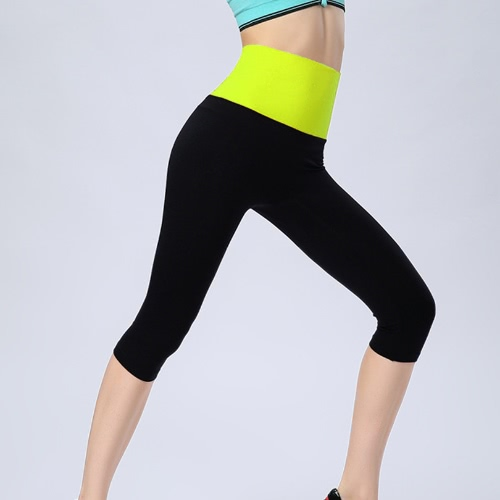 Casual Capris Sports Leggings with Contrast Wide Elasticed High Waist for Women G1741GR-L