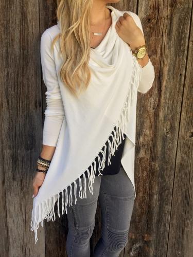 New Fashion Women Knitted Cardigan Sweater Tassel Cross Long Sleeve Coat Top Outwear White/Gray