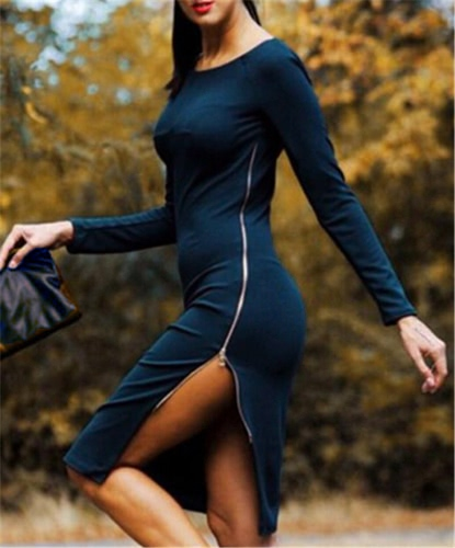 Sexy Women Dress Side Split Plunging Zipper O-Neck Long Sleeve Bodycon Dress Red / Dark Blue G1818DB-XL
