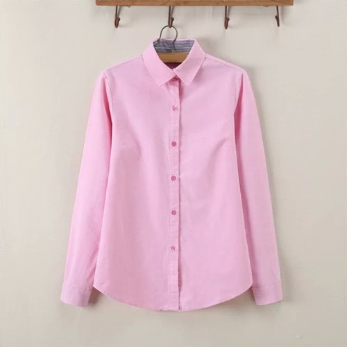 New Fashion Women Shirt Striped Turn-Down Collar Button Placket Solid Color Long Sleeve Blouse TopsShirts &amp; Blouses<br>New Fashion Women Shirt Striped Turn-Down Collar Button Placket Solid Color Long Sleeve Blouse Tops<br><br>Blade Length: 25.0cm