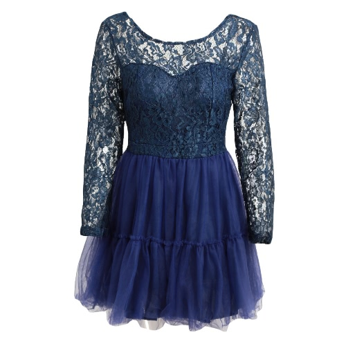 Buy Sexy Mesh Splicing Deep V Backless Long Sleeve Lace Tulle Princess Dress Women