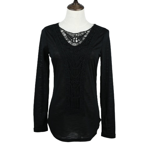 New Fashion Women T-shirt Crochet Lace Panel Round Neck Long Sleeve Slim Fit Solid Casual Blouse Green/White/KhakiTops &amp; Vests<br>New Fashion Women T-shirt Crochet Lace Panel Round Neck Long Sleeve Slim Fit Solid Casual Blouse Green/White/Khaki<br><br>Blade Length: 30.0cm
