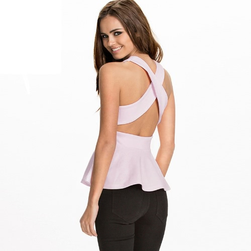 Fashion Women Peplum Tank Top Cross Back Round Neck Sleeveless Bodycon Tops T-Shirt Pink/White/BlueTops &amp; Vests<br>Fashion Women Peplum Tank Top Cross Back Round Neck Sleeveless Bodycon Tops T-Shirt Pink/White/Blue<br><br>Blade Length: 20.0cm