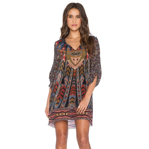 Vintage Women Shift Dress Baroque Ethnic Geometric Print Tie Neck Bohemian Loose Casual Beach Dress Dark Blue G1938DB-L