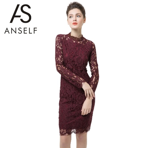 Sexy Women Mini Dress Lace Hollow Out Turtleneck Long Sleeve Zipper Bodycon Party Evening Dress Burgundy G1945BU-XL