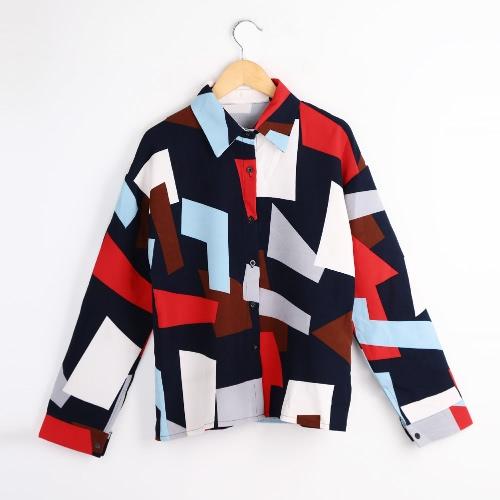 New Fashion Women Shirt Button Geometric Print Turn-down Collar Long Sleeve Blouse Green/BlueShirts &amp; Blouses<br>New Fashion Women Shirt Button Geometric Print Turn-down Collar Long Sleeve Blouse Green/Blue<br><br>Blade Length: 20.0cm