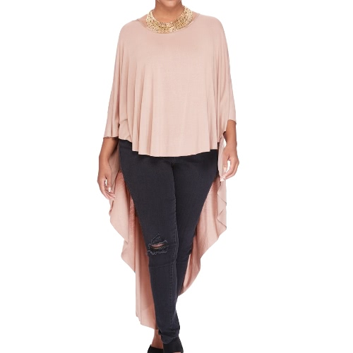 New Fashion Women Cape T-Shirt Three Quarter Batwing Sleeve O Neck Asymmetric Hem Loose Top Pink