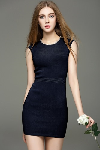 Buy Elegant Beading Round Neck Sleeveless Bodycon Mini Knitted Dress Women